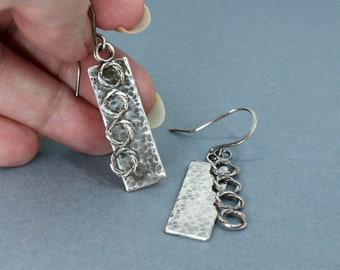 Layered Earrings in Sterling Silver, Oxidised and Textured Bars with Linked Rings Detail, Kinetic Jewellery