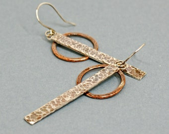 Bar and Circle Earrings in Sterling Silver and Copper, Mixed Metal Hammered and Oxidised Long Drops, Textured Jewellery