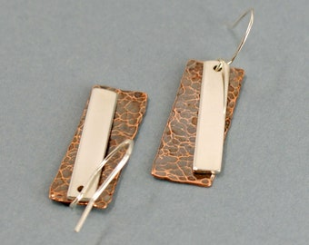 Hammered Copper and Sterling Silver Layered Earrings, Rectangular Mixed Metal Geometric Jewellery