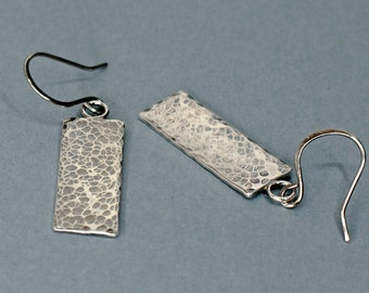 Hammered Silver Rectangle Earrings, Simple Minimalist Jewellery with a Subtle Patina for Everyday Wear