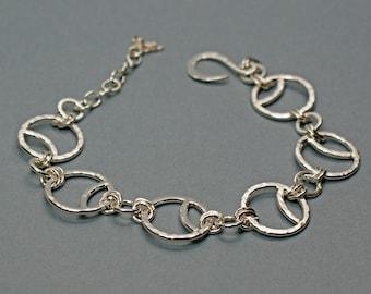 Round Link Bracelet in Sterling Silver, Moon Jewellery, Art Deco Style Bracelet