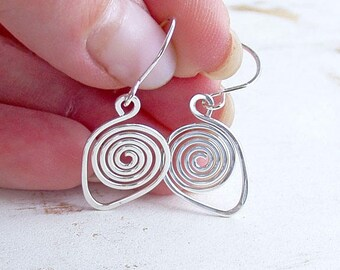 Sterling Silver Spiral Drop Earrings, Artisan Crafted Silver Wire Jewellery, Everyday Earrings