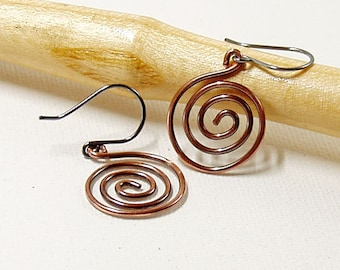 Simple Spiral Earrings in Oxidised Copper with Sterling Silver Ear Wires