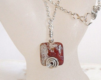 Small Square Stone Pendant, Pink Jasper with Sterling Silver Spiral Motif, Simple Jewellery for Everyday Wear