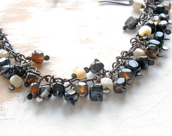 Black Agate Beaded Cluster Necklace on Black Faux Suede, Oxidised Copper Hand Crafted Jewellery, Black Statement Necklace