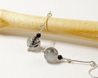 Silver Drop Earrings in Grey and Black, Rutilated Quartz and Black Onyx Earrings, Stylish and Modern Jewellery