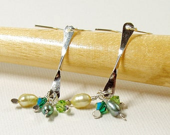 Long Drop Earrings in Sterling Silver with Green Pearls and Crystals, Pearl Cluster Earrings, Hammered Silver Jewellery, Sparkly Earrings