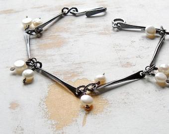 White Pearl Bracelet, Oxidised Copper Bar Link Bracelet with Dangles, Simple Jewellery