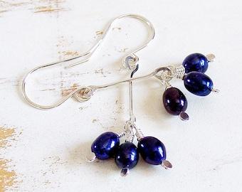 Blue Pearl Drop Earrings in Sterling Silver, Lightweight Pearl Dangle Earrings, Dainty Jewellery