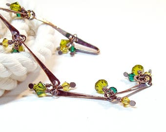 Green Crystal Dangle Bracelet in Oxidised Copper, Hand Forged Wire Wrapped Jewellery