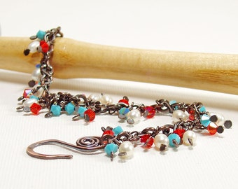 Pearl and Crystal Dangle Bracelet in Red White and Blue, Boho Copper Charm Bracelet