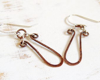 Hammered Copper Loop Earrings with Sterling Silver Ear Wires, Copper Wire Jewelry, Lightweight Everyday Earrings