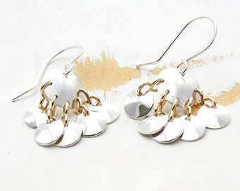 Silver Chandelier Earrings, Mixed Metal Jewelry, Silver Disc Earrings with Gold Links, Handmade Silver Jewellery, Fan Earrings