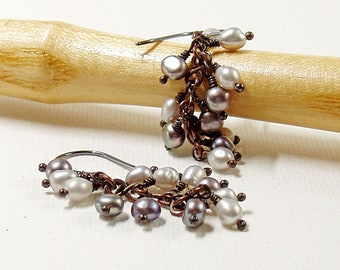 Grey Pearl Cluster Earrings, Oxidised Copper Hand Crafted Components with Sterling Silver Hooks