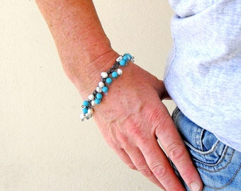 Turquoise Bracelet with White Pearls on Oxidised Sterling Silver Hand Forged Chain, Artisan Jewellery