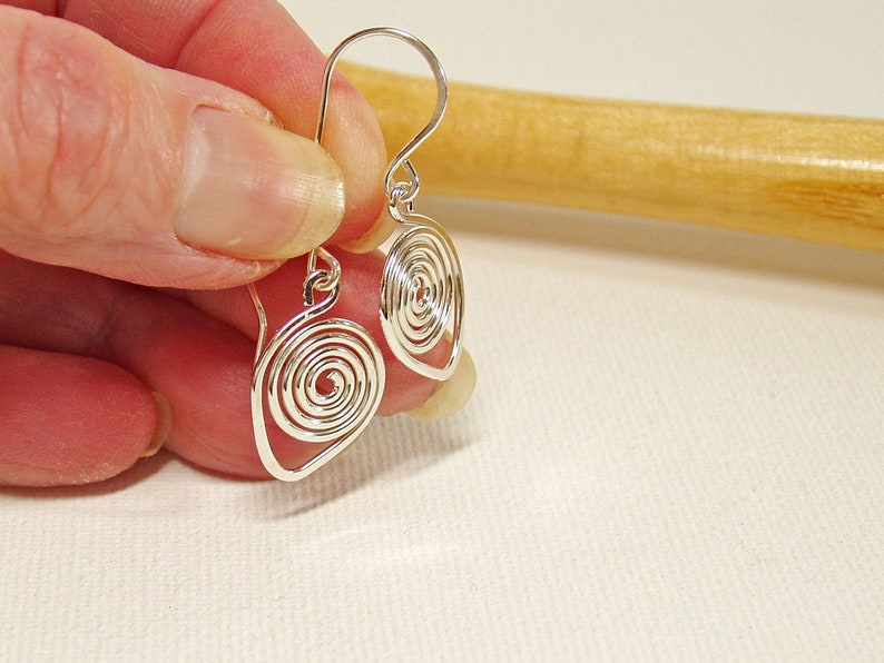 Sterling Silver Spiral Drop Earrings Artisan Crafted Silver image 0