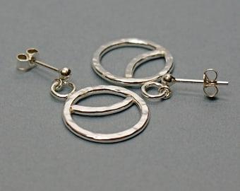 Circle Earrings in Sterling Silver, Celestial Jewellery, Art Deco Style Eclipse Earrings on Posts
