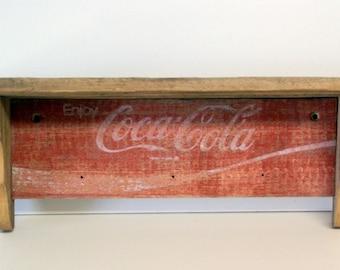 RESERVED for  cakrolik -  Vintage Wood Coca Cola Shelf by speckleddog on Etsy