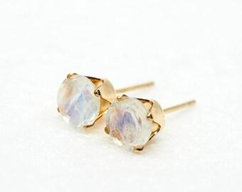 Rainbow Moonstone Earrings \\ 14k Gold Filled Ear Studs \\ Natural Gemstone \\ 6mm round \\ June Birthstone Birthday Gift for her