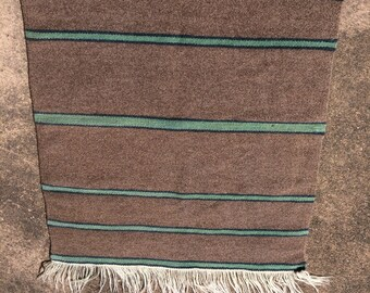 Handwoven Striped Rug, Chimayo Natural Dyed Wool, Brown and Green