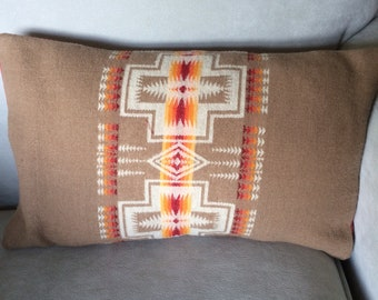 Southwestern Design Throw Pillow, Handwoven Wool in Navajo Colors