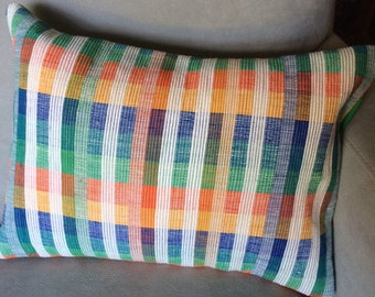Cotton Throw Pillow, Striped or Plaid Design of Blue, Green, Yellow, Orange and White