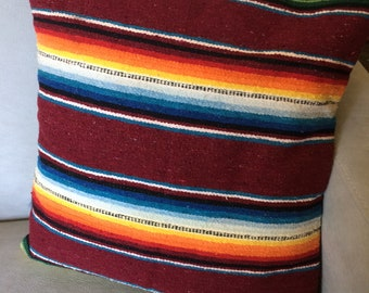 Striped Cotton Throw Pillow, Square, in a Rainbow of Colors