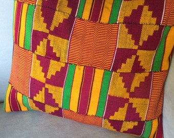 Hand Stitched, Upcycled Cotton Pillow with Geometric Woven Designs in Gold, Green, Orange, and Hot Pink