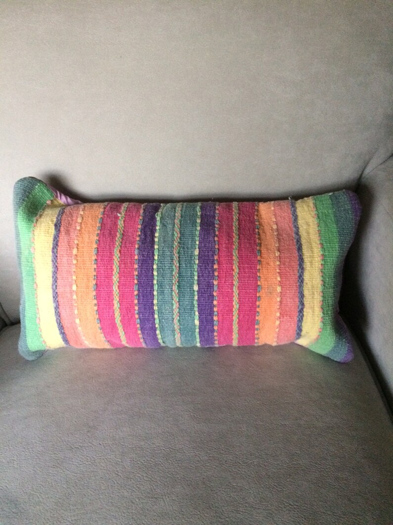 Striped Neckroll Pillow Handwoven Cotton In Pink Purple Etsy