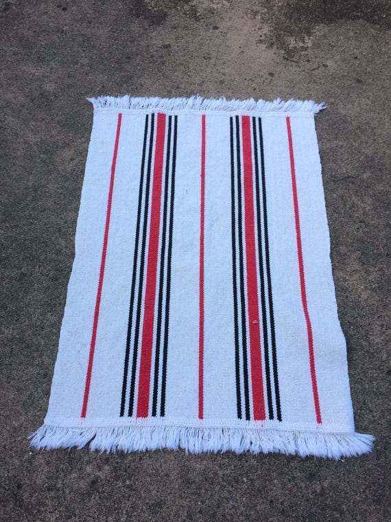Handwoven Organic Cotton Striped Rug Red White And Black Etsy