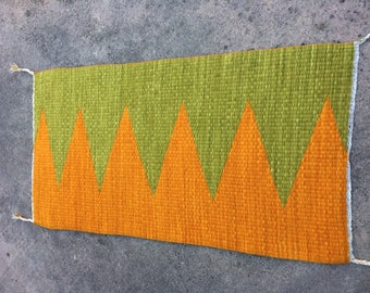 Handwoven Rug, 100% Hand Dyed Wool, Sea Green and Dark Orange Wedge Weave