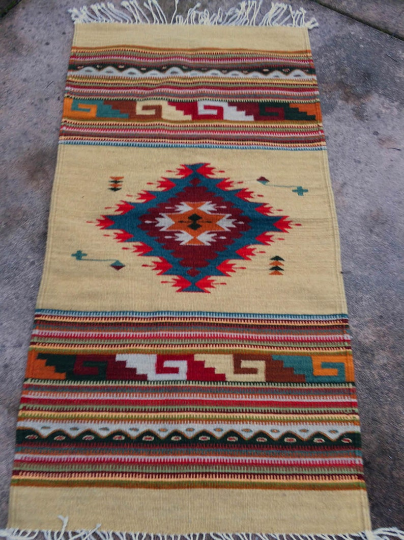 Wool Rug Handwoven Hand dyed All Natural Southwestern image 0