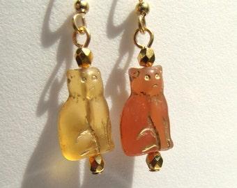 Amber or Carnelian Glass Petite Cat Czech Glass Cat Earrings