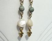 Mother of Pearl and Jasper Vintage Earrings