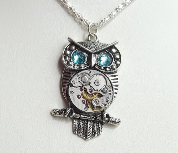 Steampunk Owl Turquoise Aqua Eye Vintage Watch Movement Pendant