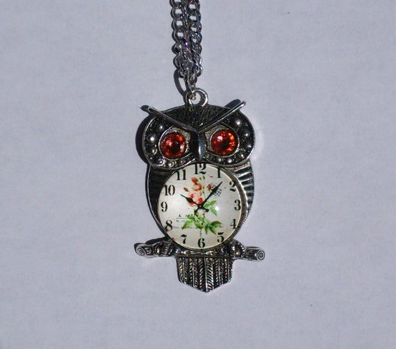 Shabby Chic Steampunk Owl Pendant Goddess Athena Necklace