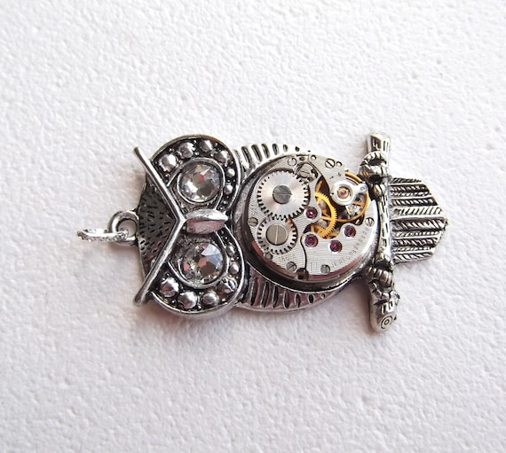 Steampunk Goddess Athena Owl Clear Crystal Necklace Vintage Watch Movement