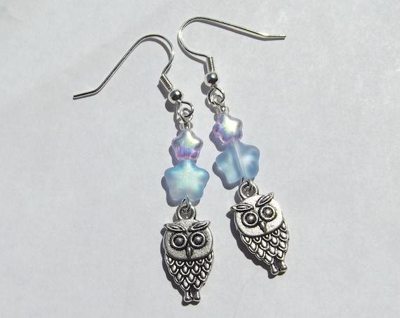 Owl and Blue Star Charm Earrings
