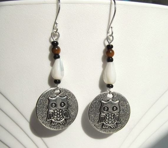 Mother of Pearl Tiger Eye Owl Coin Earrings