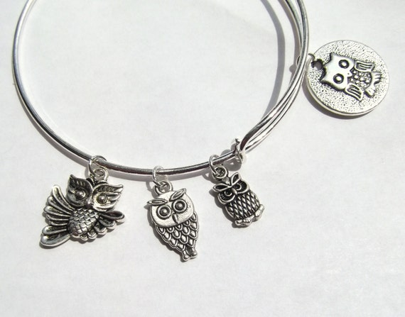Owl Charms Expandable Owl Bangle 3 Owl Charm Bracelet