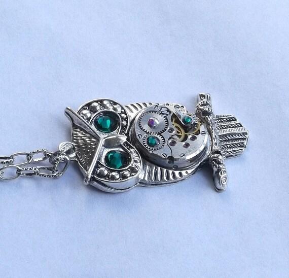 Steampunk Owl Emerald Green Crystal Vintage Watch Movement Pendant