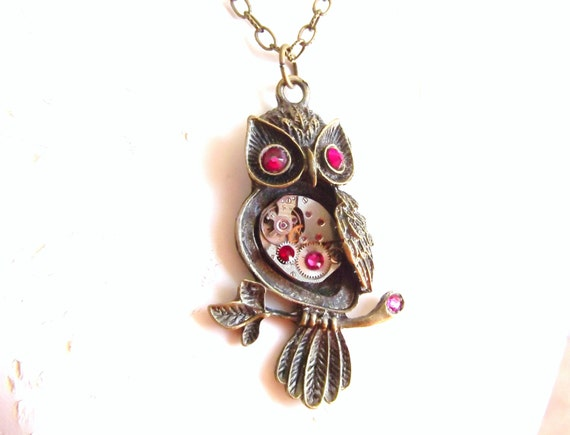 Steampunk Owl Necklace Reds and Pinks Vintage Watch Movement Fantasy Owl