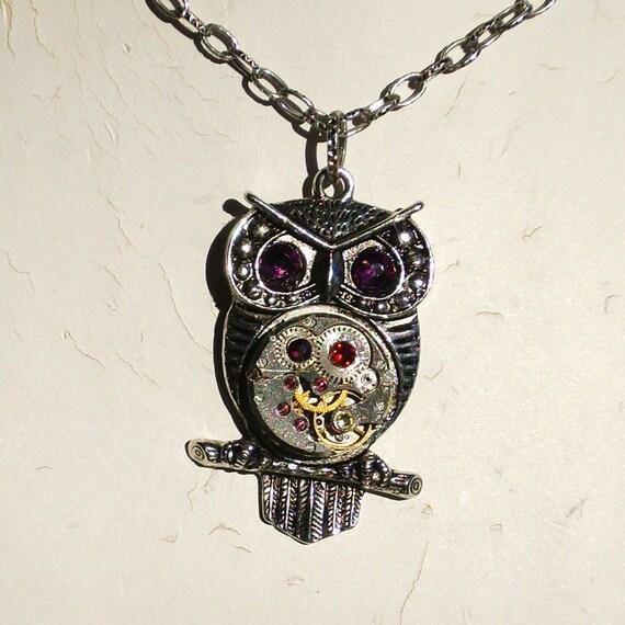 Steampunk Goddess Athena Owl Amethyst Multi Crystal Necklace Vintage Watch Movement