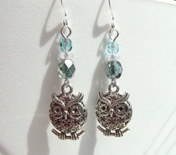 Light Teal Blue and Gray Crystal Perching Owl Earrings