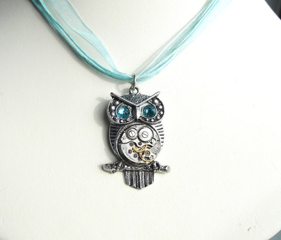 Steampunk Owl Turquoise Aqua Eye Vintage Watch Movement Pendant