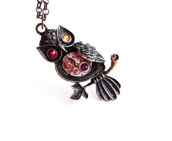 Steampunk Owl Necklace Orange Amber Fall Colors Vintage Watch Movement Fantasy Owl