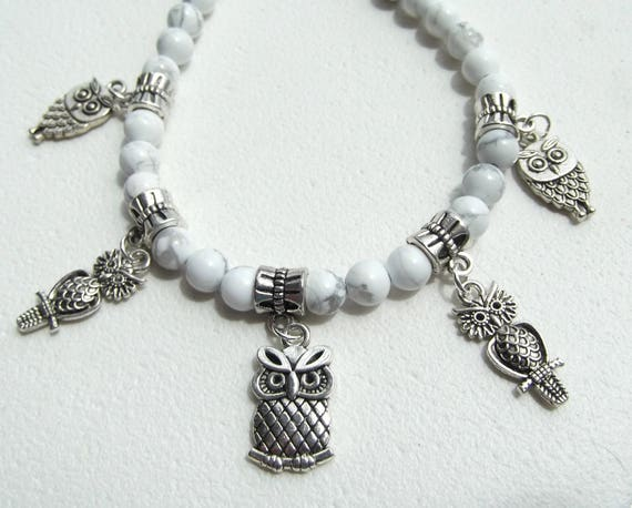 Owl Charm White Howlite Bead 20 Inch Necklace