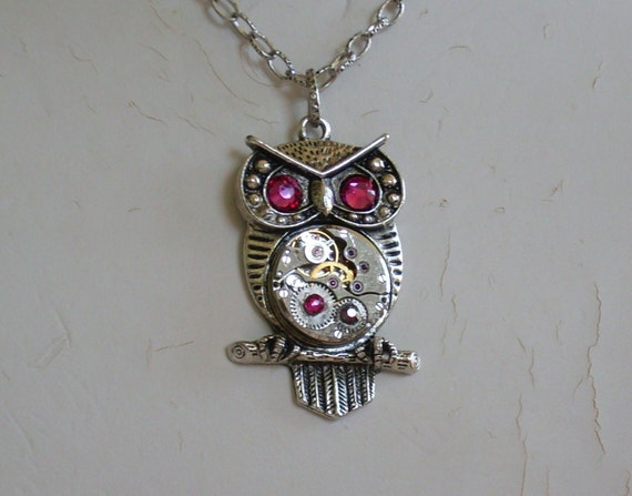Steampunk Goddess Athena Owl Fuchsia Necklace Vintage Watch Movement