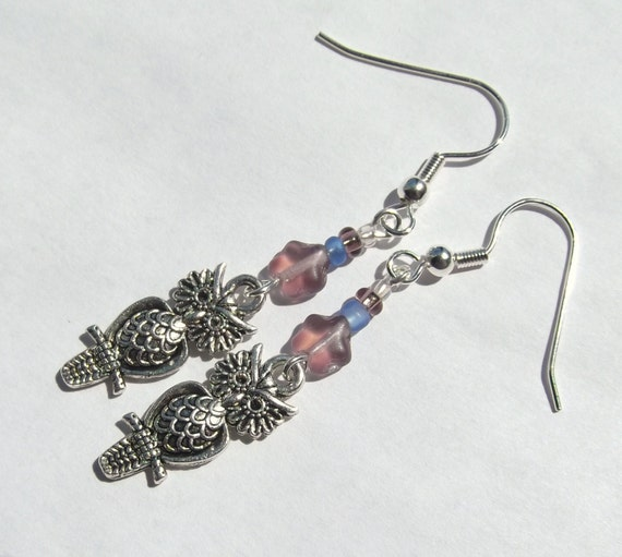 Owl and Lavender Light Purple Star Charm Earrings