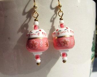 Maneki Neko Salmon Coral Pink Tea Rose Japanese Lucky Cat Earrings